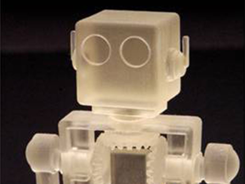Print transparent objects like this robot are also possible with Polyjet technology